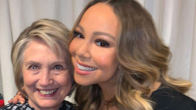 """Pop star Mariah Carey posted a tweet Monday to celebrate meeting Hillary Clinton, whom she referred to as """"President Clinton."""""""