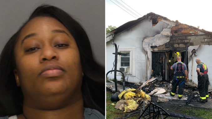 A New Jersey woman has been arrested after she allegedly burned a man's house to the ground after he called her for sex at 4am but fell asleep before she arrived.