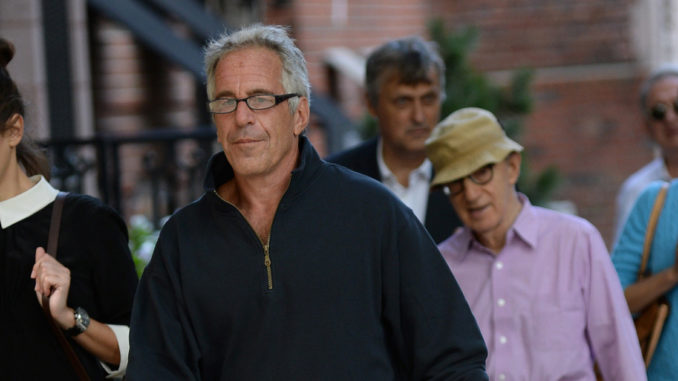 Pictures show Woody Allen leaving Jeffrey Epstein's New York mansion