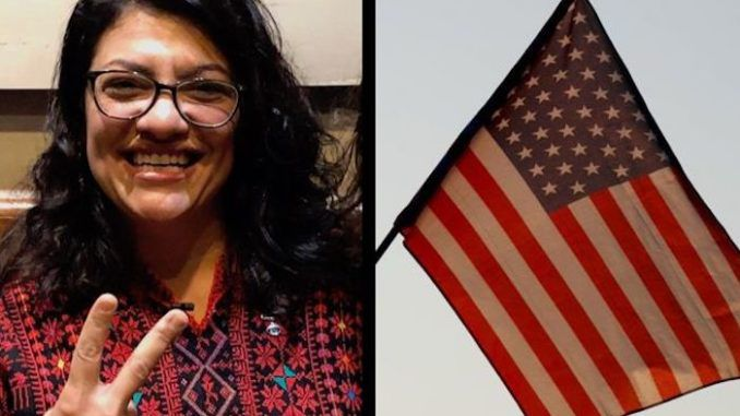 Rep. Rashida Tlaib vows to hang altered U.S. flag outside of her congressional office
