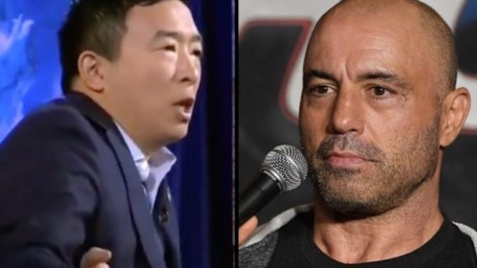 """Joe Rogan slammed prominent Democrats who have come out in favor of """"altering"""" the traditional American diet by drastically reducing the consumption of meat."""