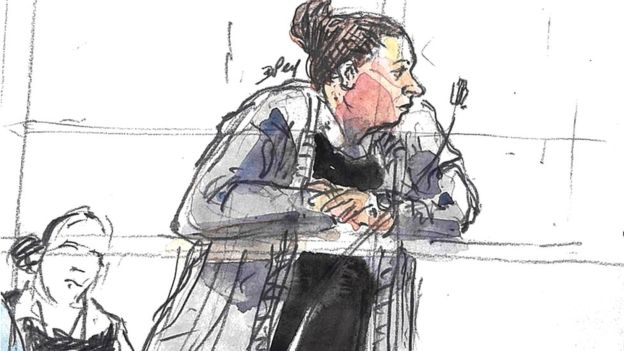 Inès Madani in cou court sketch of Inès Madani, Ornella Gilligmann and Sarah Hervouët during the trialrt during the trial