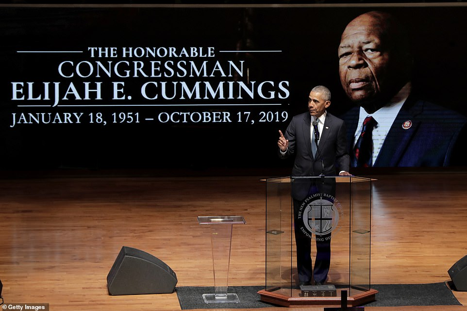 Elijah Cummings was celebrated as the son of a sharecropper who fought in Washington D.C. for his home city by two former presidents - first Barack Obama then Bill Clinton