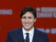 Canadian Prime Minister Justin Trudeau ignored etiquette and began his victory speech before his main rival had finished speaking.