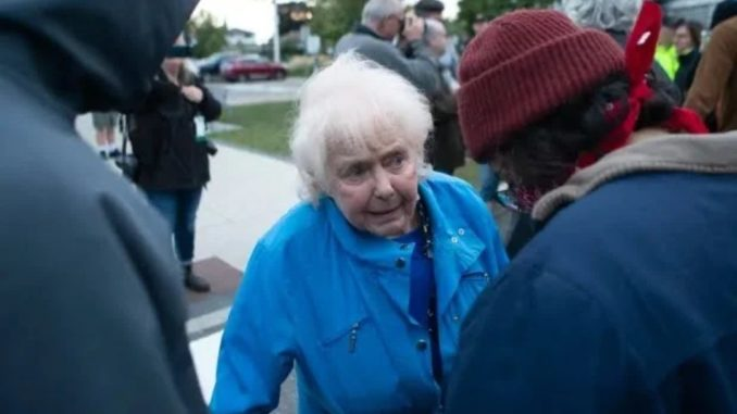 An elderly woman who was harassed by Antifa while trying to cross the street to attend a lecture about free speech in Canada on Sunday has recorded a defiant message for the Antifa thugs who tried to intimidate her.