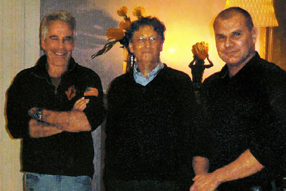 Bill Gates pictured with Jeffrey Epstein in his 'House of Horrors' New York mansion in 2011 along with Gates staffer Boris Nikolic (right)