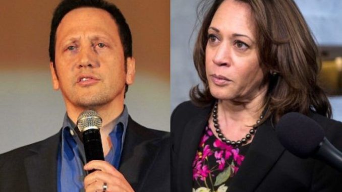 Actor Rob Schneider slammed Sen. Kamala Harris after the Democratic presidential candidate called for Twitter to ban President Donald Trump.