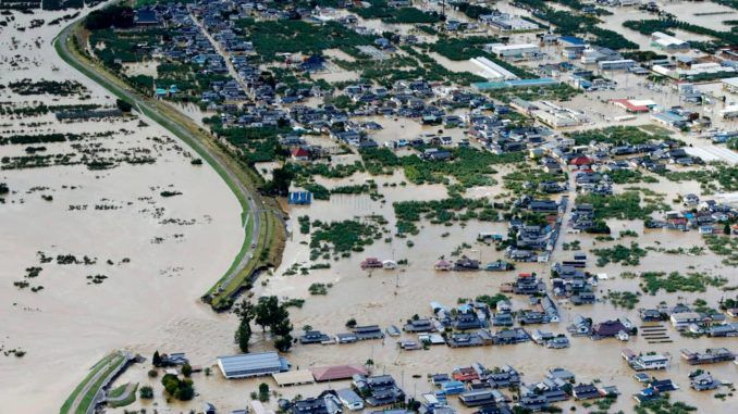 As Typhoon Hagibis hammered Japan on Saturday, thousands of bags containing radioactive waste at Fukushima were reportedly carried into a local stream by floodwaters.
