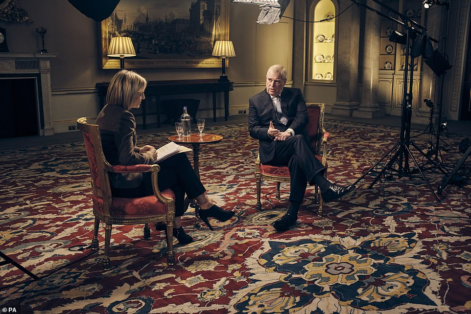 Prince Andrew (pictured during his car crash interview with the BBC's Emily Maitlis) was told to step down from public life