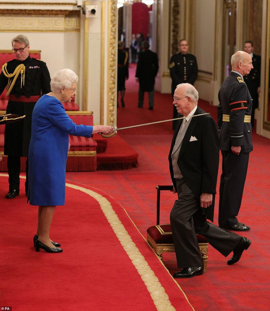 It was business as usual for the Queen today as she knighted Sir Archibald Tunnock, owner of the Tunnock's teacake factory, during an investiture ceremony at Buckingham Palace