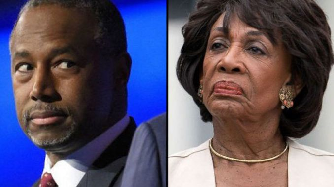 HUD secretary Ben Carson has scorched California Rep. Maxine Waters for trying to shift the blame onto President Trump for the homelessness crisis in her Los Angeles district.
