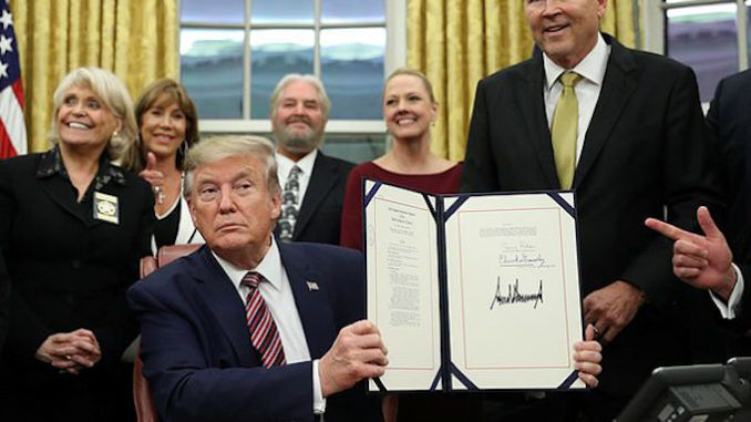 President Donald Trump signed a landmark bill Monday that criminalizes animal abuse and the creation and distribution of pictures and videos of animal torture.