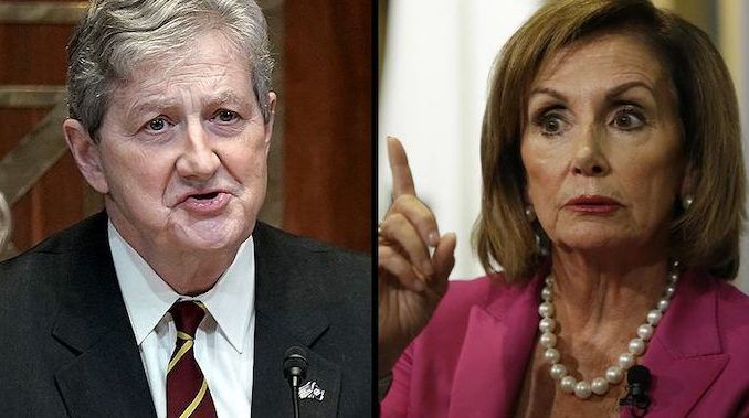 Sen. John Kennedy delivered a withering critique of Speaker Nancy Pelosi's attempt to impeach President Donald Trump during a Trump rally Wednesday night in Kennedy's home state of Louisiana.