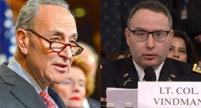 Chuck Schumer accidentally outs Lt. Vindman as on of Schiff's whistleblowers