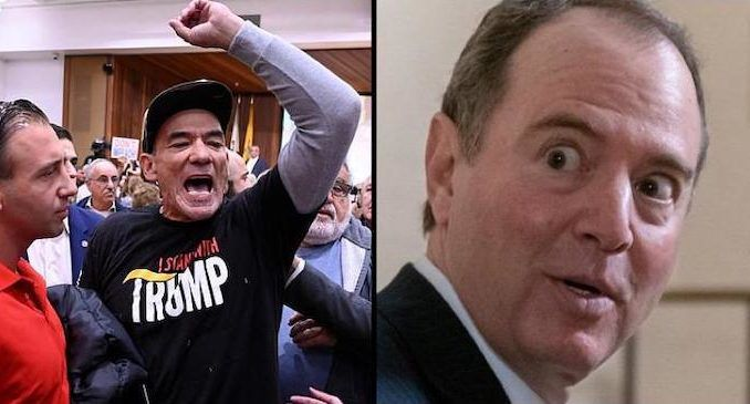"""A town hall hosted by Rep. Adam Schiff erupted on Saturday after conservatives accused the House Intelligence Committee chair of """"treason""""."""