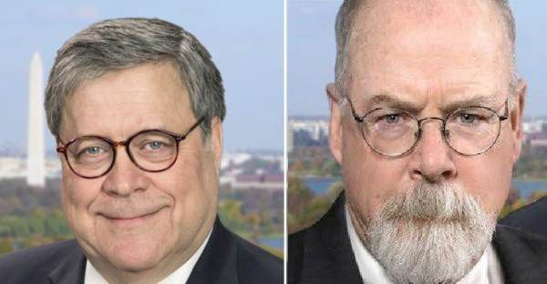 Attorney General William Barr (right) and U.S. Attorney John Durham (left), the man investigating abuses by the FBI and Justice Department against President Trump and members of his administration and campaign in the Russia-election investigation.