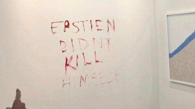 Pretentious duct-taped banana art replaced with Epstein didn't kill himself sign