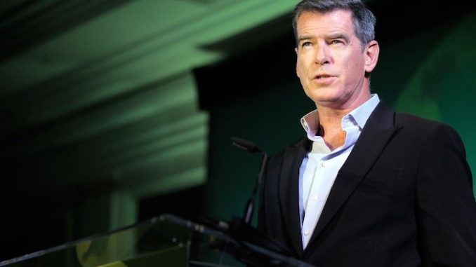 Pierce Brosnan thanks President Trump for booming economy