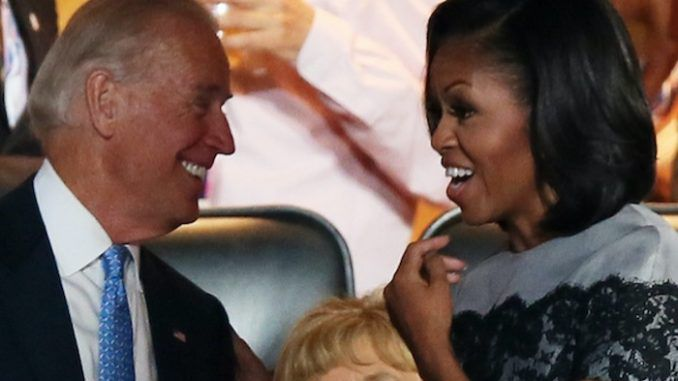 Democrat presidential candidate Joe Biden suggested on Tuesday that the Obamas will be appointed to high office if is elected in 2020, telling voters he wants to make Michelle Obama his running mate and vice president, while Barack is destined for the Supreme Court.