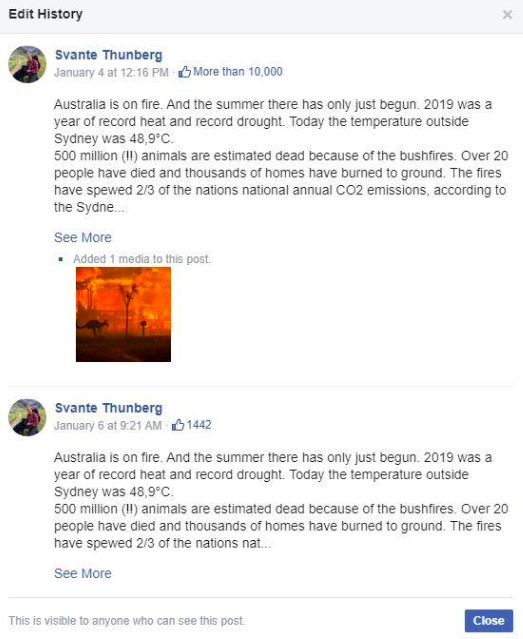 Example of Facebook post on Greta Thunberg's page that was secretly posted by her father.