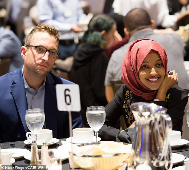 hen revealed that Omar was having an affair with her chief fundraiser Tim Mynett, a married father-of-one, whose company received more than half a million dollars from her campaign last year. The two are pictured together on May 26 at a Council on American-Islamic Relations (CAIR) event - a month after he told his wife he was leaving her