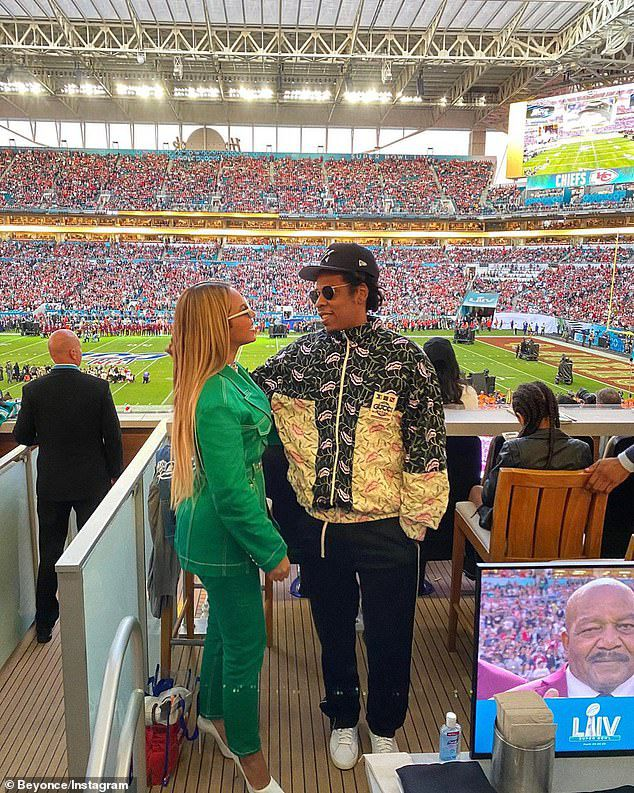 Beyonce and Jay-Z enjoyed prime seats for the game between the San Francisco 49ers and the Kansas City Chiefs at the Hard Rock Stadium