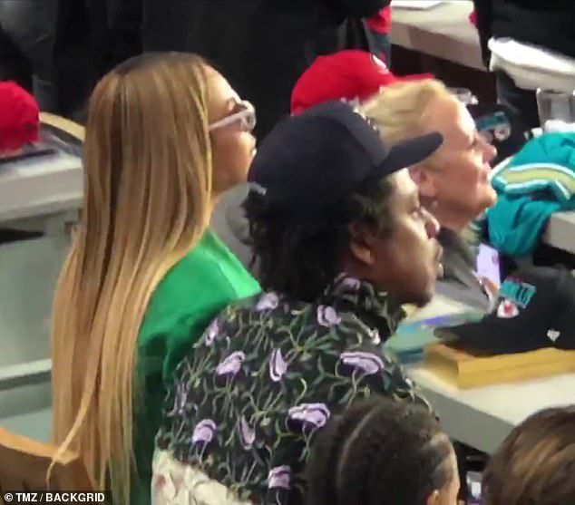 Beyonce and Jay-Z remained seated while Demi Lovato performed the national anthem at Super Bowl LIV in Miami on Sunday