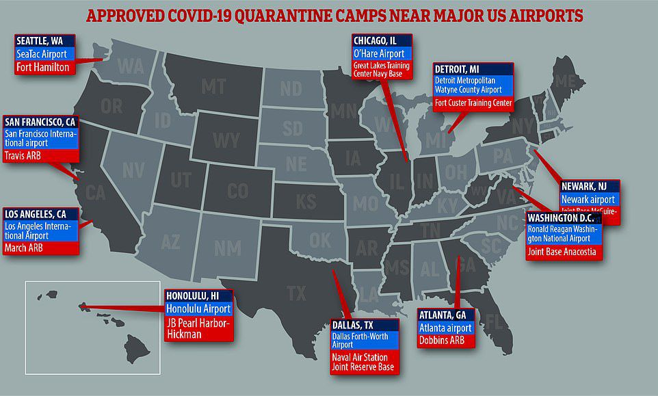 The camps will be set up next to 11 major airports around the US. On February 1, the Associated Press reported that they would house as many as 250 people each.