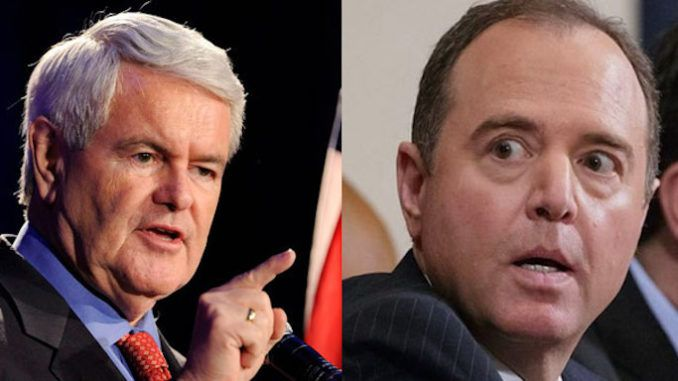 "Former House Speaker Newt Gingrich has blasted Rep. Adam Schiff as ""deranged human being"" and a ""compulsive, uncontrollable liar,"" while calling for the California Democrat to be removed from his role as chairman of the House Intelligence Committee."