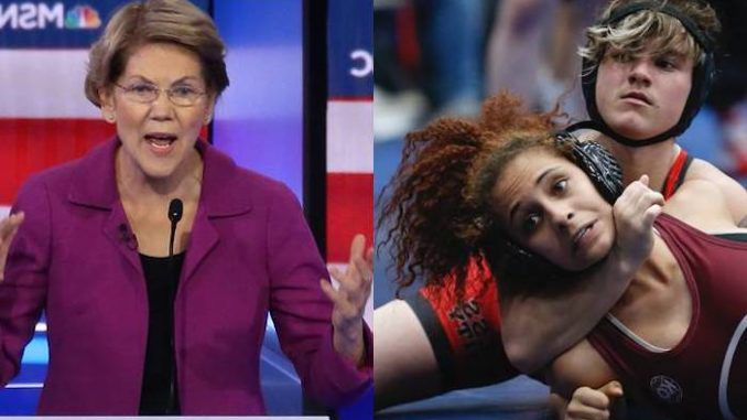 """Democrat presidential candidate Sen. Elizabeth Warren says Arizona must vote down a """"cruel"""" bill that would ban males from competing in women's sports."""