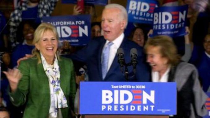 Joe Biden introduces his wife as his sister during Super Tuesday event