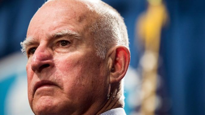 """In 2018, former California Gov. Jerry Brown complained that """"dangerous"""" President Donald Trump was """"sabotaging the world order""""."""