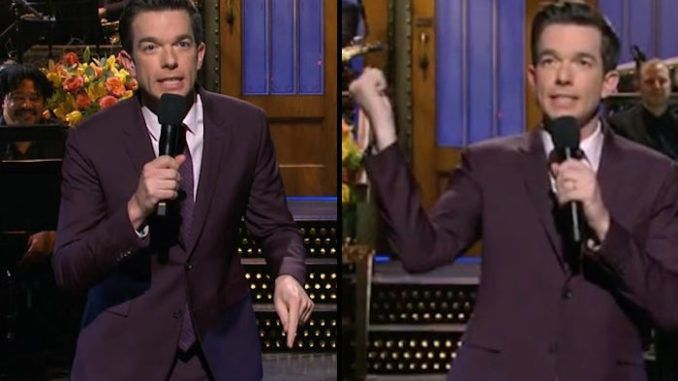 """Comedian John Mulaney used his cold open on Saturday Night Live to say that it would be """"interesting"""" if President Trump was stabbed to death by US senators, after comparing POTUS to Roman emperor Julius Caesar."""