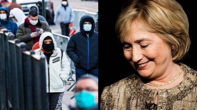 Hillary Clinton appeared smug about the number of sick and dead Americans on Friday, using the growing number of coronavirus cases in the U.S. as a punchline in a joke about President Trump.