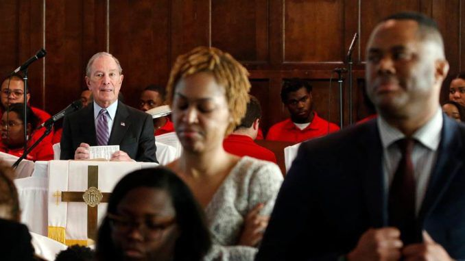 Attendees turn their backs on Michael Bloomberg during visit to black church in Alabama