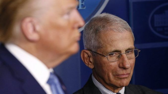 Dr. Anthony Fauci has slammed the way President Donald Trump is conducting his daily coronavirus press conferences, complaining about the number of times he has to tell President Trump facts to get his point across, and stating 'I can't jump in front of the microphone and push him down.'