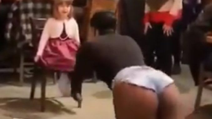 A video posted to Tik Tok shows a drag queen dancing seductively in front of a very young girl as adults in the room clap and cheer.