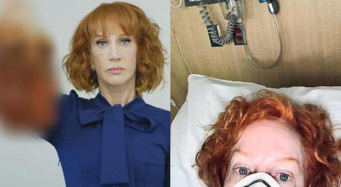 """Despite looking like death warmed up and being checked into an isolation ward at a major hospital with """"unbearably painful"""" symptoms, comedienne Kathy Griffin is still unable to stop shooting her mouth off about President Donald Trump."""