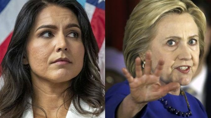 "Rep. Tulsi Gabbard must be a ""Russian asset"" because she is anti-war and anti-regime change, according to the twisted logic of Hillary Clinton's lawyers."