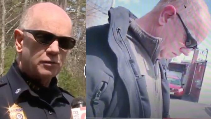 "A police chief in Stow, Massachusetts has been relieved of his duties as the city's top cop and is facing an investigation after a video by a self-declared ""pedophile hunter"" was posted online."