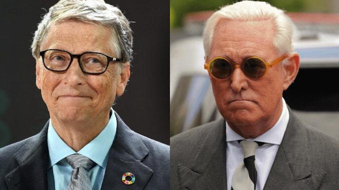 The idea that billionaire vaccine enthusiast Bill Gates was involved in the creation and spread of coronavirus in order to have the opportunity to microchip the world population 'is open for vigorous debate', according to longtime Trump advisor Roger Stone.