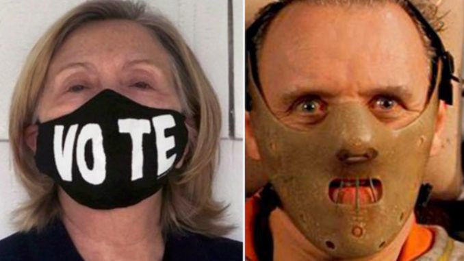 Twice failed presidential candidate and the world's sorest loser Hillary Clinton made the mistake on the weekend of tweeting out a bizarre image of herself wearing a mask — and the internet was quick to make her regret it.