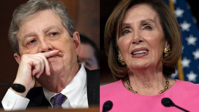 "Sen. John Kennedy (R-LA) says Republicans tried to work with House Speaker Nancy Pelosi on the latest coronavirus relief bill, but the bipartisan venture was unsuccessful because ""we can't get our heads that far up our rear ends."""