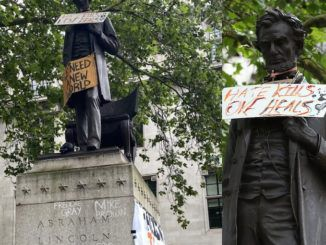 Brainless and uneducated Black Lives Matter protesters have defaced and vandalized an Abraham Lincoln statue, despite the fact Lincoln freed the slaves over 150 years ago and took an assassin's bullet in the back of the head