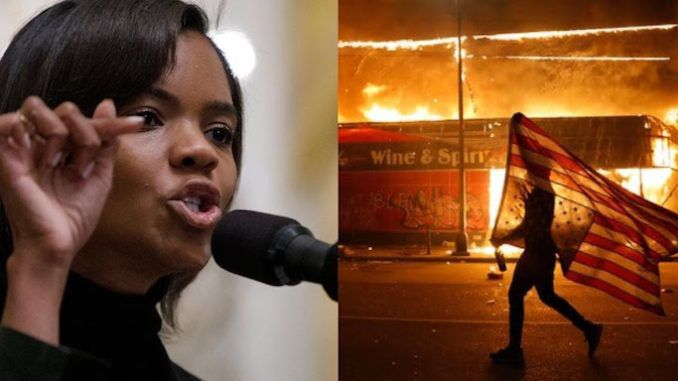 """The Democrat Party """"burned down our economy, impoverishing millions"""", in 2020, according to Candace Owens, who warns that Democrats are now supporting the burning down of """"entire cities"""" as an """"act of war"""" against a duly elected president."""