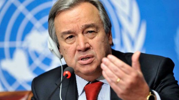 "The time has come for the world to embrace an overarching level of multilateralism that can function as an instrument of ""global governance"" and sideline problematic ""national interests"", according to U.N. Secretary General Antonio Guterres, who added the new order must have ""scale, ambition and teeth."""