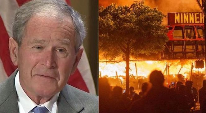 """Former President George W. Bush has praised the """"protesters"""" who he says are marching for """"a better future"""" and """"lasting peace"""" while hundreds of cities across the country are engulfed in chaos and organized destruction."""