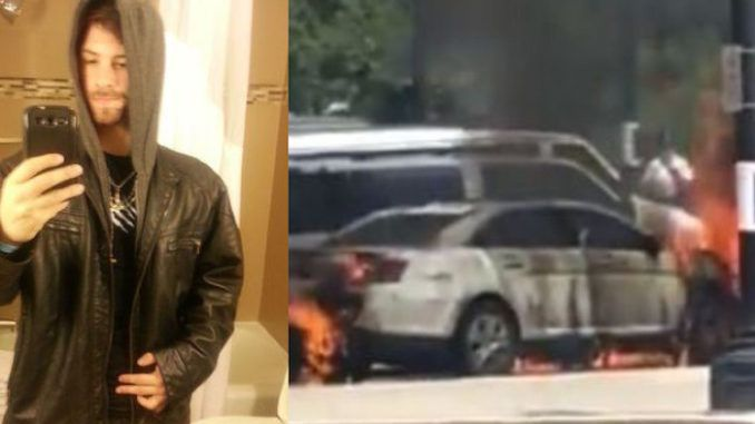 A dangerously violent left-wing radical who appears to worship Satan has been admitted to hospital with third-degree burns after setting himself on fire while torching a police car at the US Supreme Court.