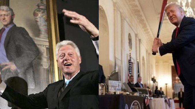 "The White House has suddenly moved former President Bill Clinton's official portrait from its prominent position in the entrance hall and placed it in a ""storage room"" used to store ""unused tablecloths and furniture."""