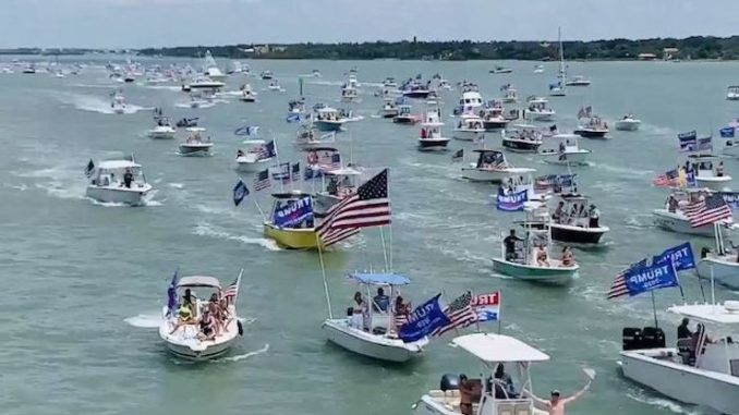 "Patriots and supporters of President Trump held a boat parade in Clearwater, Florida in support of the president on the weekend, with spectators saying the procession of boats was ""miles long."""